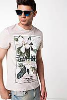Мужская футболка De Facto кремового цвета с надписью и рисунком на груди