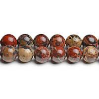 Маковая Яшма, Натуральный камень, На нитях, бусины 8 мм, Шар, кол-во: 47-48 шт/нить