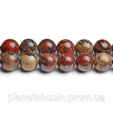 8 мм Маковая Яшма, CN219, Натуральный камень, Форма: Шар, Отверстие: 1мм, кол-во: 47-48 шт/нить, фото 2