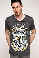 Мужская футболка De Facto серого цвета с надпись на груди Black crow