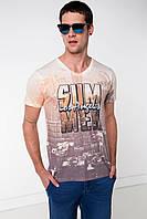 Мужская футболка De Facto белого цвета с рисунком надпись на груди Los Angeles