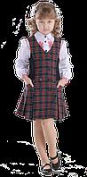 Сарафан для девочки школьный Ника клетка синяя 116-152 см