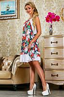 Очаровательное Легкое Платье с Модным Цветочным Принтом Белое р. 42 44 46 48