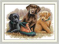 Три щенка Набор для вышивки крестом с печатью на ткани 14ст