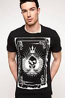 Мужская футболка De Facto черного цвета с рисунком на груди