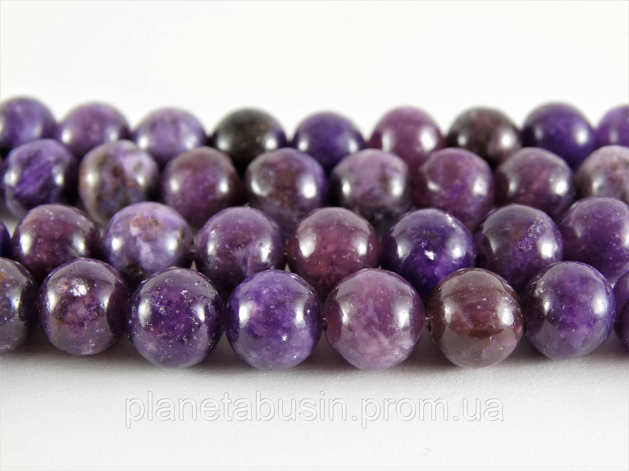8 мм Лепидолит, CN223, Натуральный камень, Форма: Шар, Отверстие: 1мм, кол-во: 47-48 шт/нить