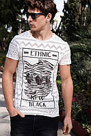 Мужская футболка De Facto белого цвета с рисунком и надписью на груди Ethnic new black