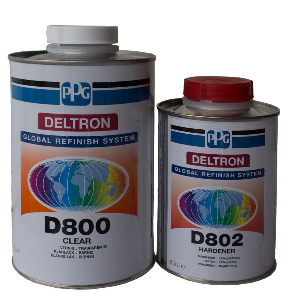 Лак автомобильный акриловый HS PPG D800 комплект с отвердителем D802 1,5 л - Интернет-магазин AUTOSKLAD – краски, автоэмали, герметики, лаки, наборы инструментов, компрессоры в Днепре