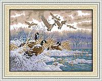Перелет птиц ,Зимний перелет Набор для вышивки крестом с печатью на ткани 14ст