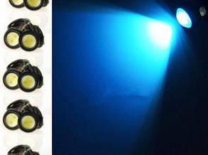 Светодиодный линзованный мини светильник синий 12V 3W с гайкой хром Код.58925, фото 2
