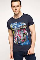 Чоловіча футболка De Facto синього кольору з малюнком і написом на грудях, фото 1