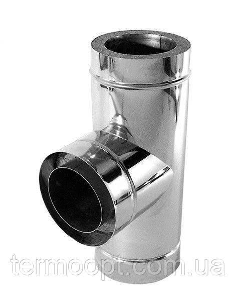 Тройник - ревизиядля дымохода двустенный из нержавеющей стали в нержавеющем кожухе диаметром 220/280