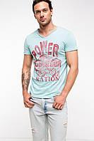 Мужская футболка De Facto голубого цвета с рисунком и надписью на груди Power