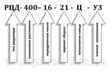 Пример условного обозначения редуктора РЦД-400-16