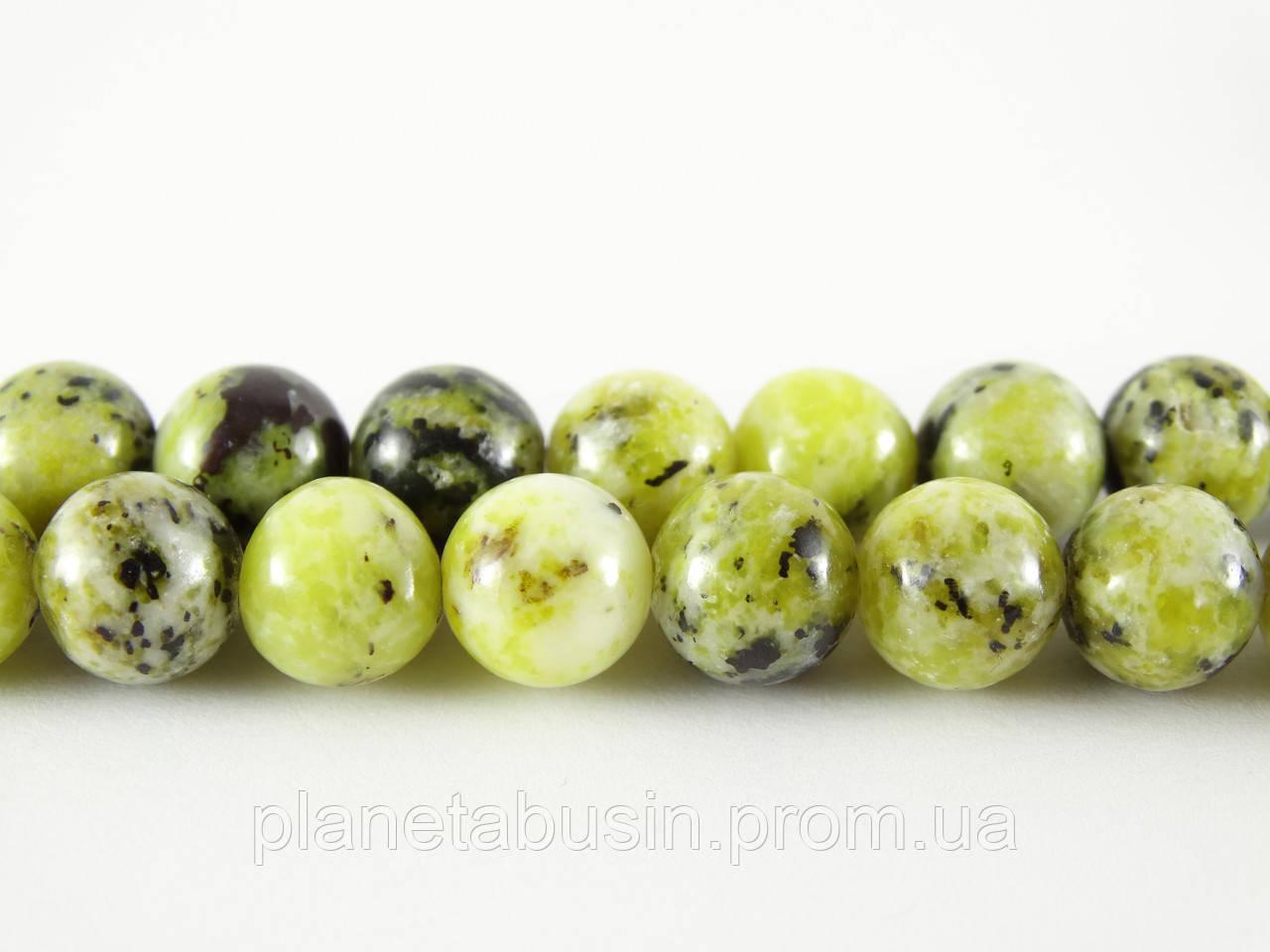 8 мм Жёлтая Бирюза, CN224, Натуральный камень, Форма: Шар, Отверстие: 1мм, кол-во: 47-48 шт/нить