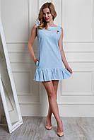Яркое молодежное нарядное летнее платье из льна в полоску
