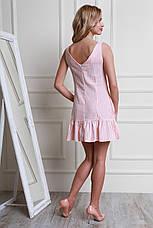 Яркое молодежное нарядное летнее платье из льна в полоску, фото 2