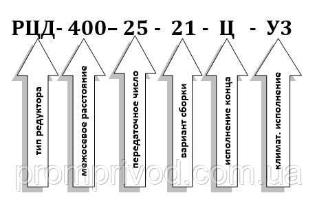 Пример условного обозначения редуктора РЦД-400-25