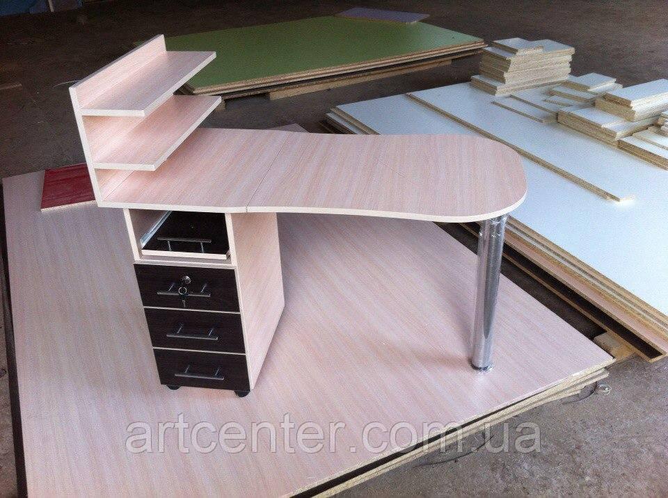 Маникюрный стол однотумбовый, стол для маникюра с ящиками и полочками для лаков