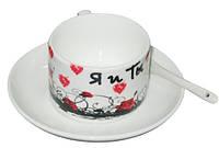 Чашка с Вашим дизайном фарфоровая кофейная с блюдцем и ложечкой, фото 1