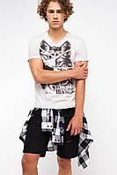 Мужская футболка De Facto светло-серого цвета с рисунком и надписью на груди