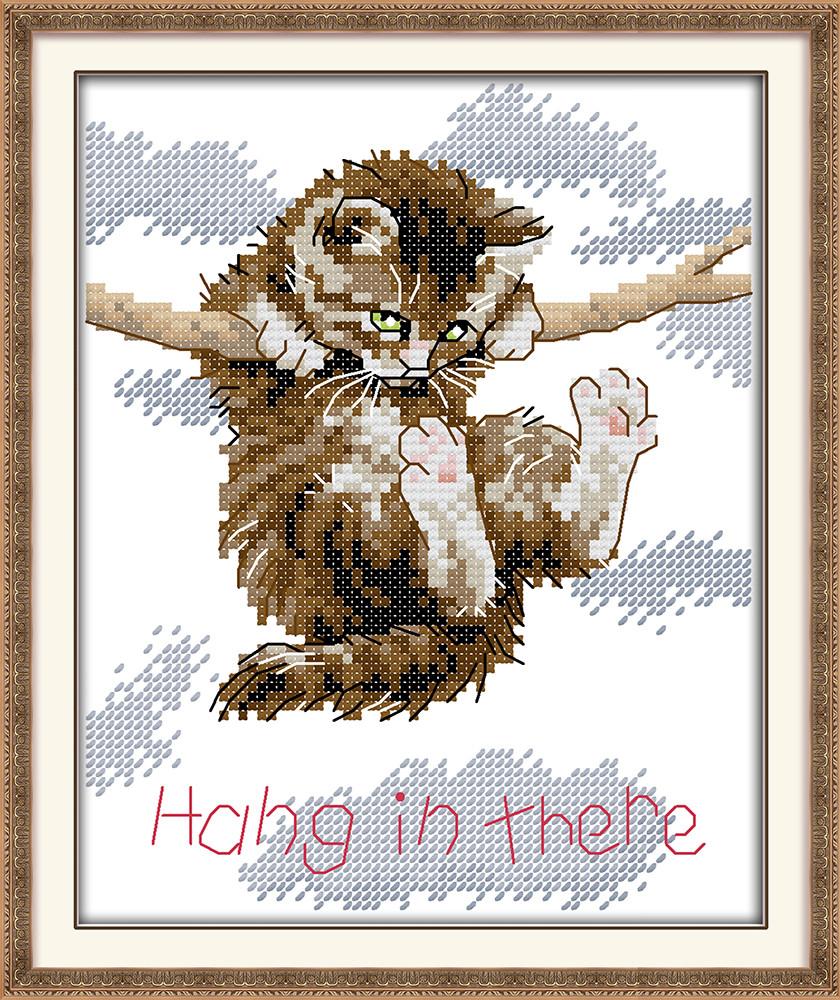Набор для вышивания крестом с печатью на ткани NKF Держись крепче, котенок 14ст D923