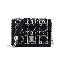 НОВИНКА! Стильная модная женская сумка Dior Diorama на цепочке черного цвета с камнями