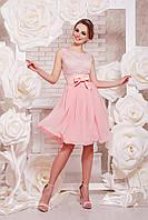 Женское короткое красивое платье с гипюра с поясом без рукавов