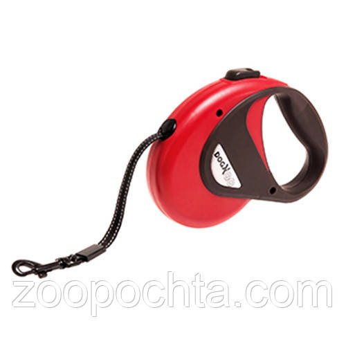 Поводок рулетка для собак до 12кг, светоотражающая лента, 5м, S