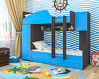 """Двухъярусная кровать""""Бриз"""" голубой+ венге магия"""