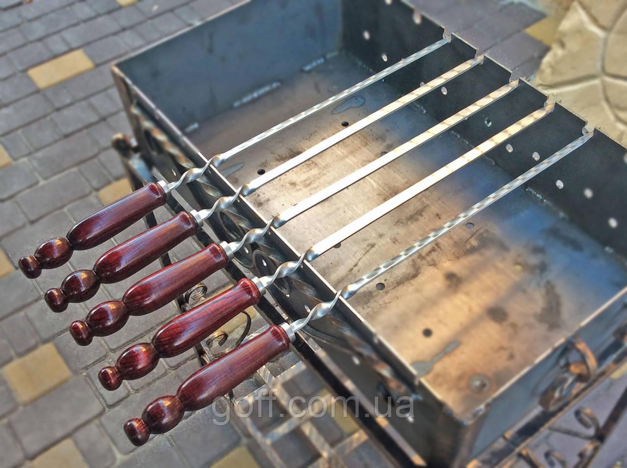 Шампур плоский 60 см. с деревянной ручкой, фото 1