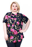 Женская батальная рубашка ТЕСС 2 РОЗЫ ТМ Ирмана 54-60 размеры