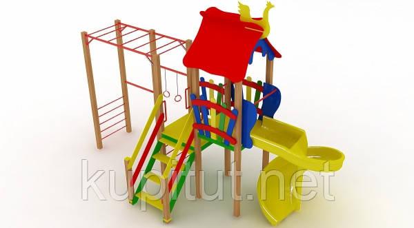 Детский комплекс Котик с пластиковой горкой Спираль DK00915PS