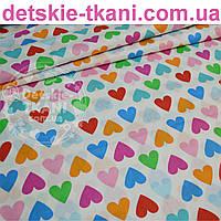 Бязь с сердечками: розовыми, голубыми, оранжевыми, зелёными (№ 781а)