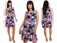 Платье с рюшем в расцветках  19926, фото 1