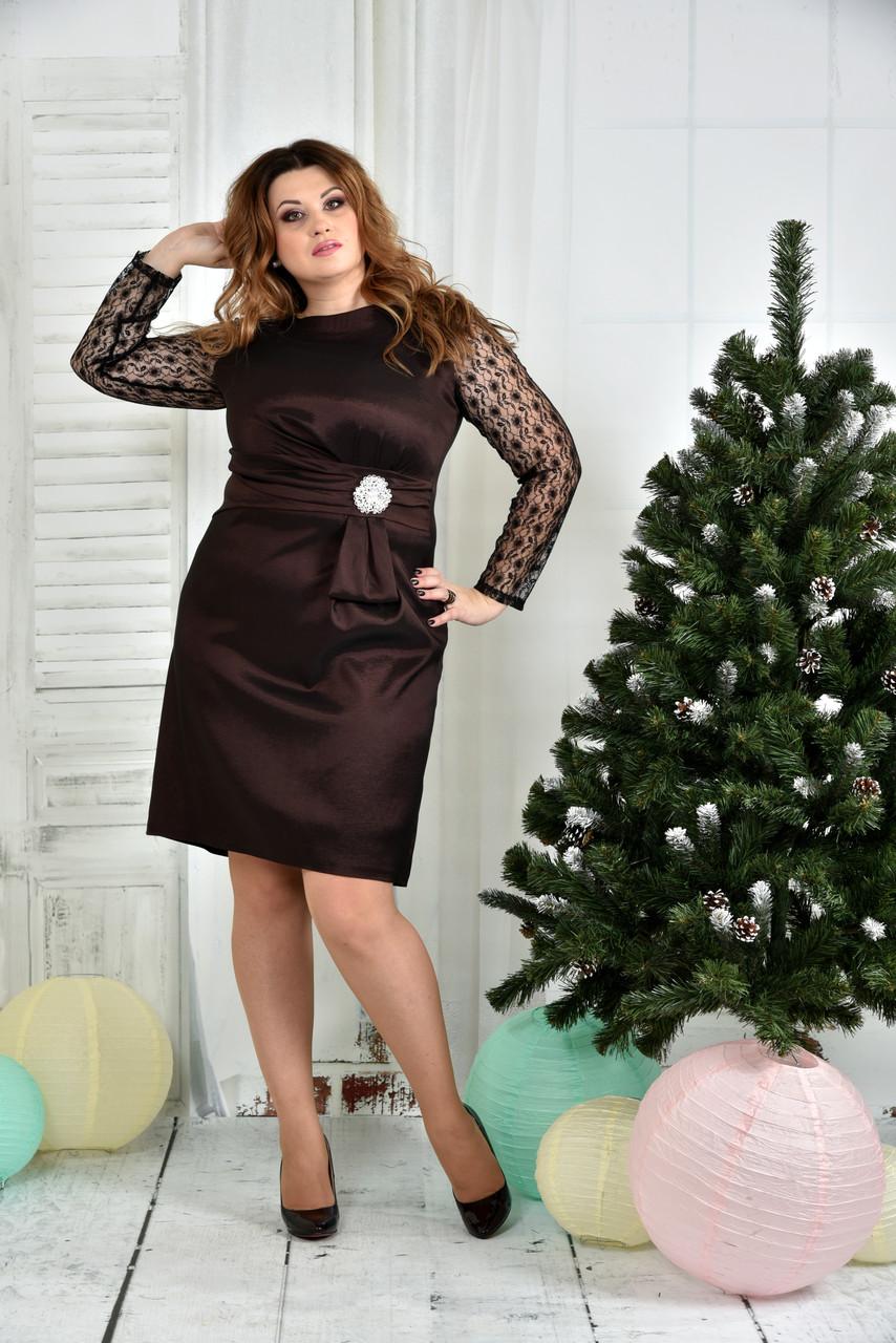 Коричневое платье 0385-1 - iPlatye в Одессе