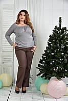 Серая блузка 0378-3 (На фото с брюками 019-3)