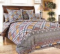 Полуторное постельное белье с простыней на резинке 90/200/25, Сомерсет, перкаль 100%хлопок