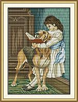 Девочка читает книгу своей собаке RA001 Набор для вышивки крестом с печатью на ткани 14ст