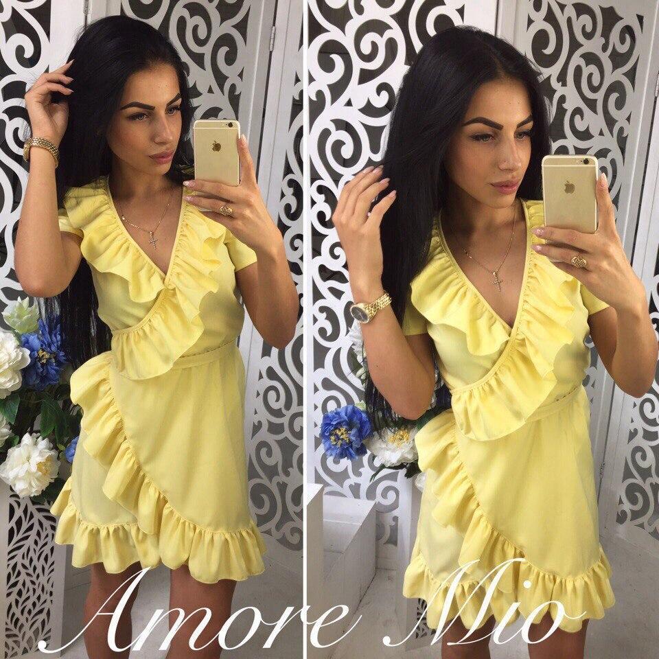 b29938ac300d485 Платье летнее короткое с запахом и рюшами 4 цвета SML1505 - Shoppingood в  Харькове