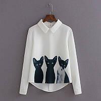 Блузка женская белая с принтом котики, фото 1
