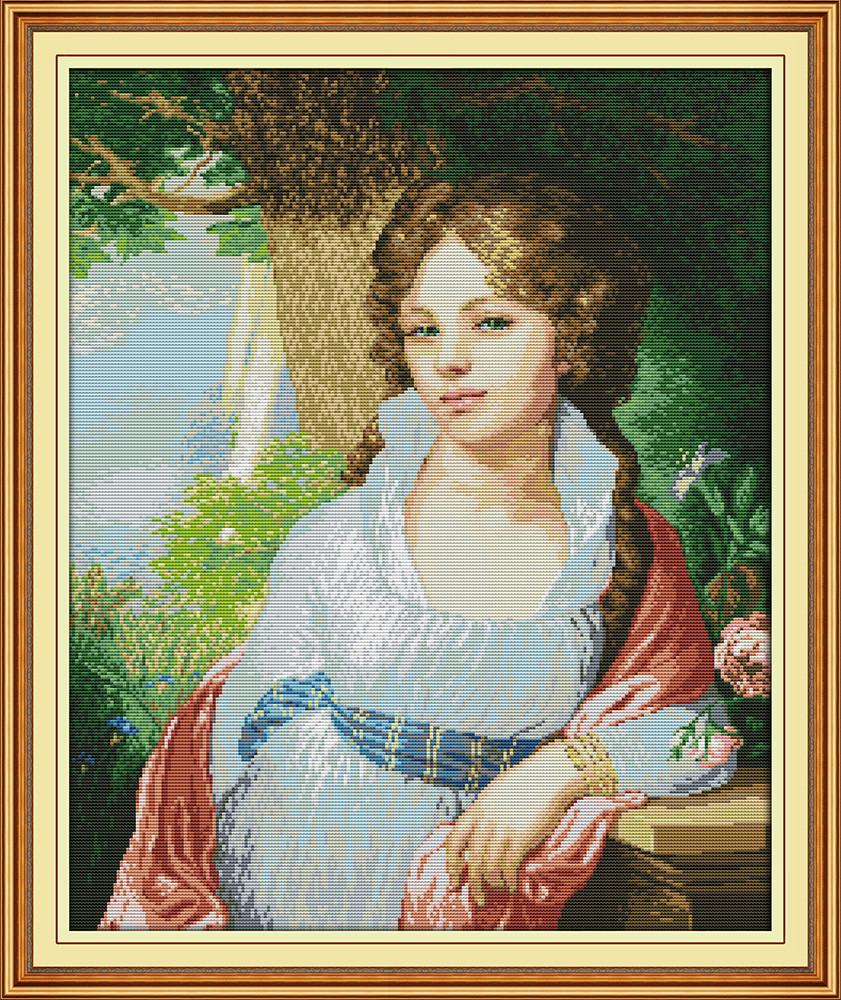 Набор для вышивания крестом с печатью на ткани NKF Портрет девушки 14ст RA003