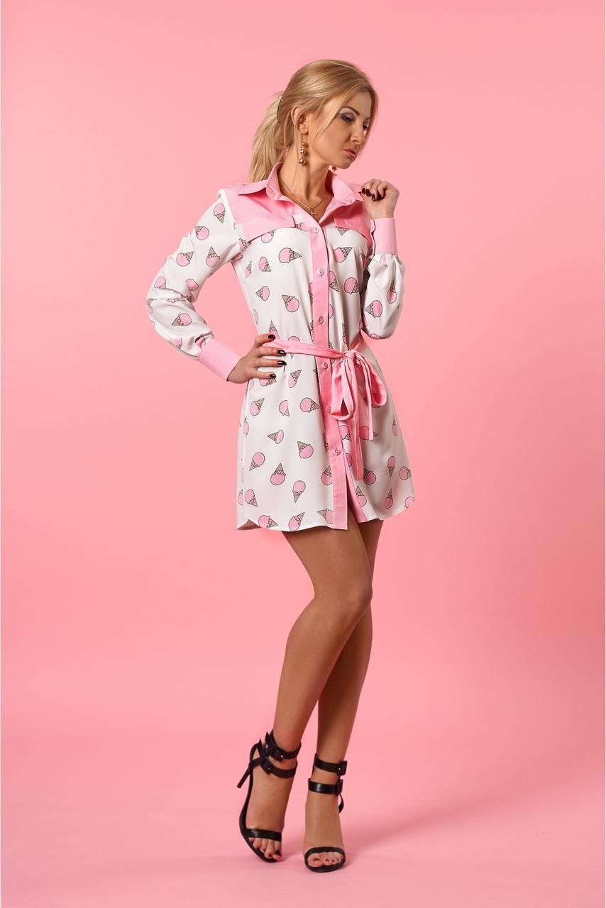 Стильное женское летнее платье розового цвета