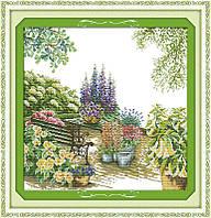 Скамейка в цветах  Набор для вышивки крестом   канва 14 ст