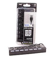 Хаб USB 2.0 AtCom TD1082, Black, 7xUSB, LED подсветка, отключение каждого порта