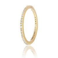 Серебряное кольцо позолоченное с фианитом К4Ф/242 - 17,4