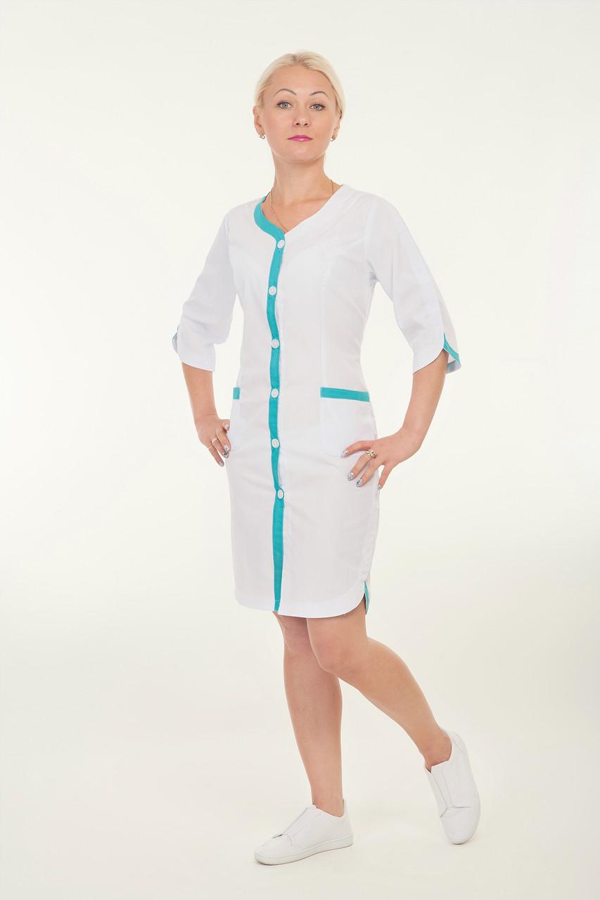Халат белый медицинский с голубой кайомкой