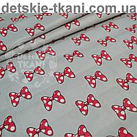 Ткань хлопковая с бантиками Микки на сером фоне (№ 782а)