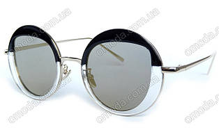 Солнцезащитные зеркальные очки круглой формы , черные