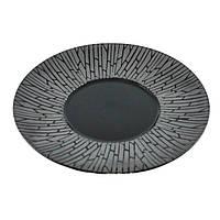 "Тарелка круглая черная матовая с узором 10"" (25,4 мм) FC0014-10"